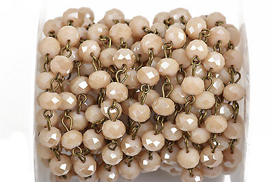1yd IVORY CREAM Crystal Rondelle Rosary Chain, bronze, 8mm beads fch0562a