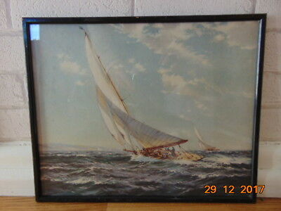 William  Knox  Painting  Of A Sailing Boats Racing   In Full Sail