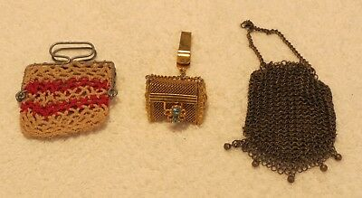 Vintage coin purses & chatelaine, lot of three