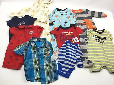 BOYS Lot of 9 Pieces Baby Boy Infant Toddler Clothes Newborn Size 0 to 18 Months