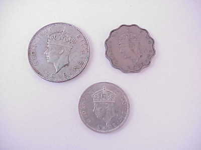 VINTAGE 1939 Seychelles Coin Lot of 3: One Rupee Half Rupee & 10 Cents George VI