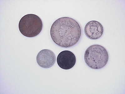 1897-1934 Mauritus Rupee & Cents Coin Lot of 6 Queen Victoria & George V