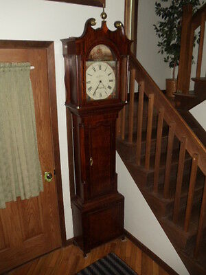 Antique Tall Case Clock Grandfather Inlay Stamford England Signed J.brumhead