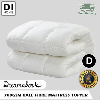 DOUBLE LUXURY PillowTop 700 GSM BALL FIBRE Mattress Topper COTTON COVER Underlay