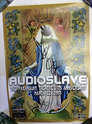 Audioslave Band Signed 2003 Concert Poster Chris Cornell Tom Morello Autographed
