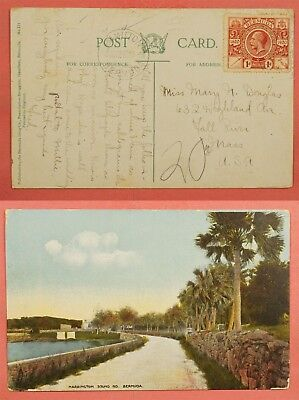 1921 Bermuda Postcard Harrington Sound Road To Usa