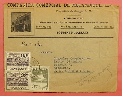 1949 Mozambique Advertising Cover To Usa