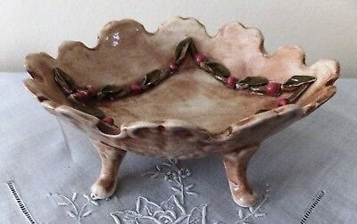 Italian Rare Collectable Vintage Vanity Jewellery Dish Rose Buds & Leaves