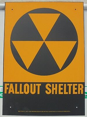"""VINTAGE 1960s ORIGINAL FALLOUT SHELTER SIGN. GALV.STEEL 10""""x14"""" new/mint"""