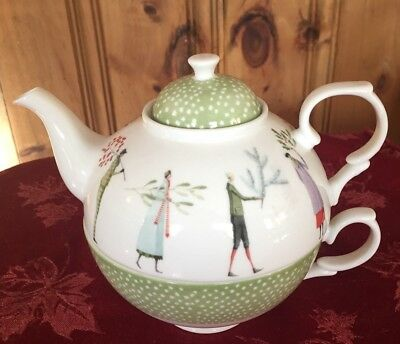 Portmeirion A Fine Romance Tea for One Cup and Teapot MINT