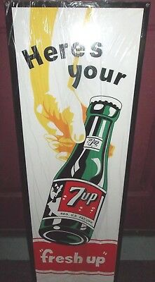 Beautiful New 7-Up Sign, Great Graphics, Color and Shine. Heavy Steel