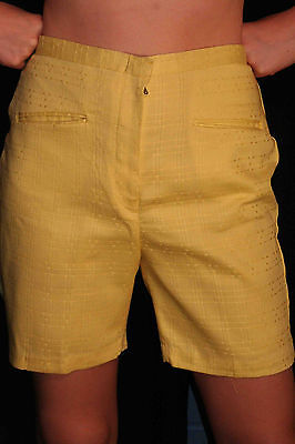 M NOS VTG 60s HIGH WAIST 29 YELLOW NWT COTTON ROCKABILLY LADY WRANGLER SHORTS
