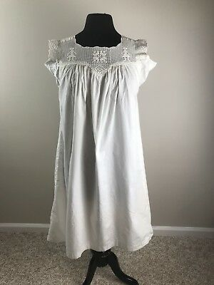 Antique Edwardian/Victorian White Nightgown with Crochet Top