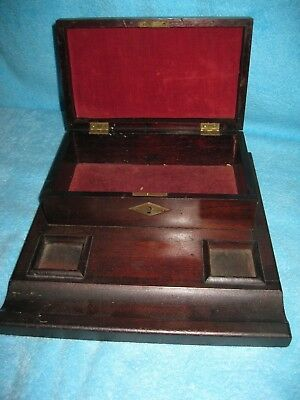 early Walnut Writing and Letter BOX ... clean with compartments Original velvet