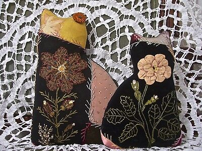KITTIES from 1880s CRAZY QUILT~STUNNING EMBROIDERY~RIBBON ROSE~NETTED LACE ROSE