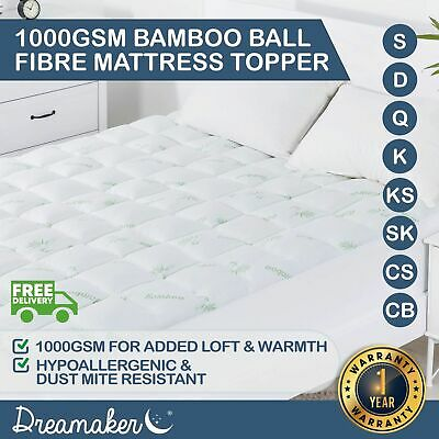All Size 1000 GSM Fully Fitted Bamboo Cover Mattress Topper Ball Fibre Washable