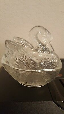 Vintage Clear Glass Lidded 3D Swan Candy Dish