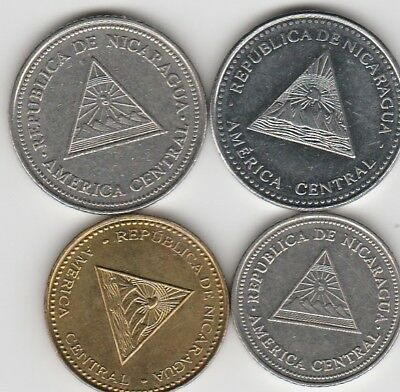 4 different world coins from NICORAGUA