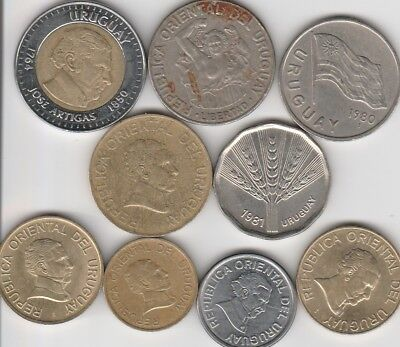 9 different world coins from URUGUAY