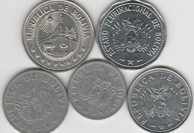 5 different world coins from BOLIVIA