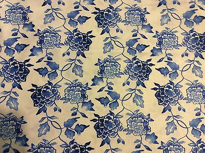 "Asian Ginger flower Porcelain blue flowers on white cotton fabric, 45""w, BTY"