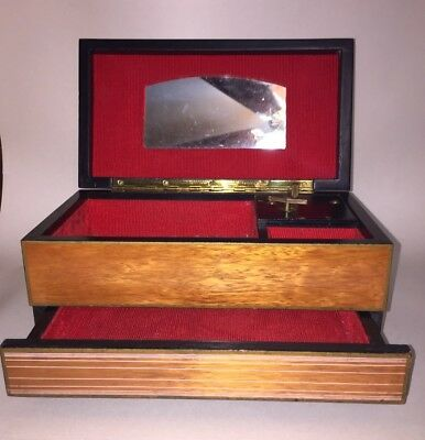 Vintage Japanese Wooden Music Box Jewelry Box Red Interior And Single Drawer