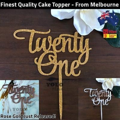 Twenty One 21st Birthday 21 Today Acrylic Cake Topper Happy Birthday AUS Stock