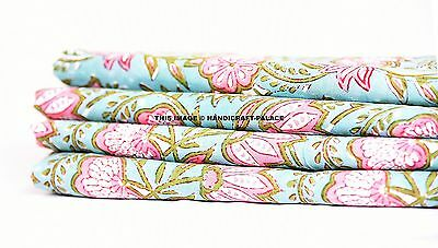 2.5 Yard Indian Running Voile Fabric Cotton Hand Block Printed Fabric For Crafts