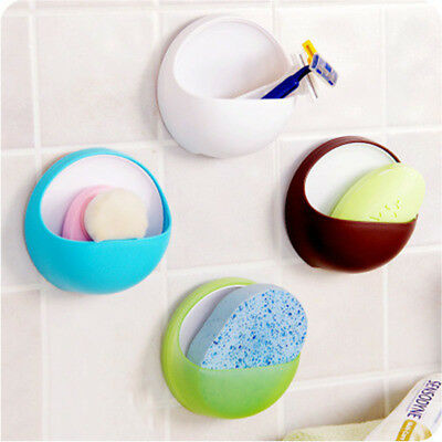 Plastic Suction Cup Soap Toothbrush Box Dish Holder Bathroom Shower Accessory