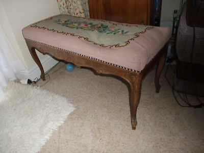 Antique Wide wooden piano stool/occasional seat with embroidered seat.