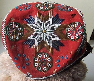 Old  Native American Beaded / Beadwork  Bonnet / Hat   Iroquois ?