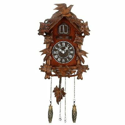 Good Bird Sound Wooden Cuckoo Wall Clock Forest Design Hanging Pendulum Weights