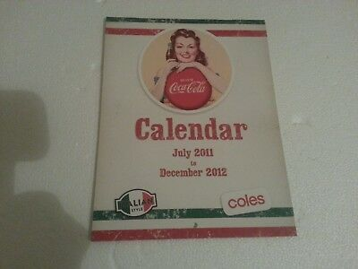 Coca Cola & Coles July 2011 - Dec 2012 18 Month Calendar-Old Adverts-LIKE NEW