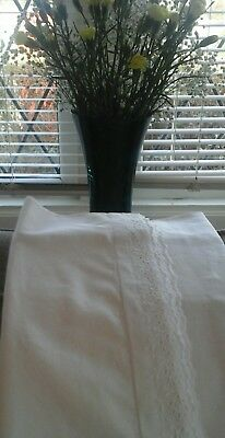 vintage  french bolster pillowcase with broderie anglaise
