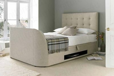 Ottoman Storage Oatmeal Fabric TV Bed Frame 4ft6 Double X2 Bedside Tables
