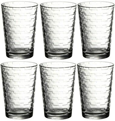 Pasabche Brick Design Glass Tumbler Set Stackable Juice Water Glasses Set of 6