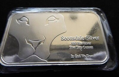 "5 Troy Ounces Scottsdale ""Prey"" 999 Fine Silver Bar with Free Registered Postage"