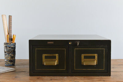 Vintage Industrial Green Table Top Two Drawer Metal Roneo Filing Cabinet