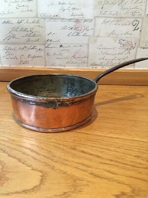 Vintage French Copper Sauce Pan Tin Lined Metal Handle