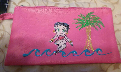 "Betty Boop on the Beach Makeup Bag-NEW-7 1/2"" Wx4"" H-Adorable!"