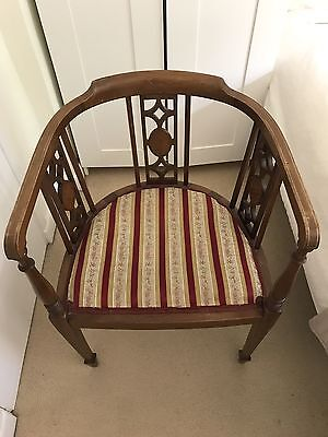 Antique Regency Barrel Elbow Desk Chair with marquetry/inlay
