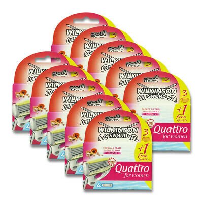 40x Wilkinson Rasierklingen Quattro for Women Papaya & Pearl