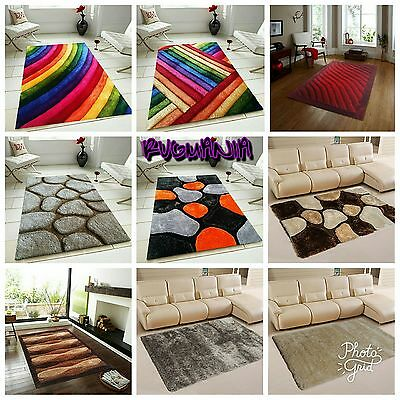 Rug Fluffy Thick Soft Rainbow Funky Multicolour Large Small Modern RUGS NEW 2018