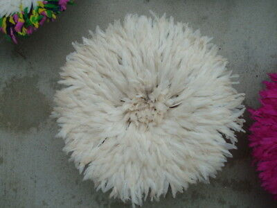 """20""""  White / Authentic  / African Feather Headdress / Juju Hat / 1st. Quality"""