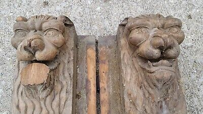2 Hand Carved Lion Head Fireplace Jambs Architectural Salvage Mantle Corbel Wood
