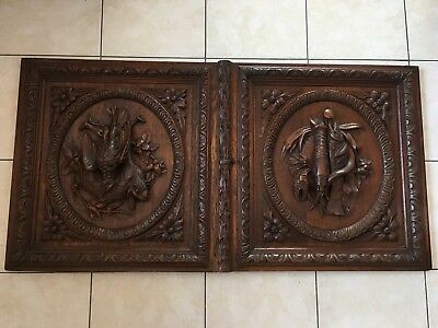 Pair of Antique French Carved Wood Architectural Door w/ key hunting scene