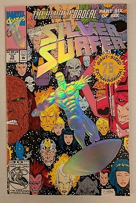 The Silver Surfer #75 Marvel Comic 1992 The Herald Ordeal Embossed Foil Cover