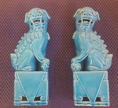 A pair of vintage turquoise blue chinese foo dogs 20CM high