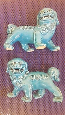 Vintage pair of turquoise blue ceramic CHINESE FOO DOGS or GUARDIAN LIONS