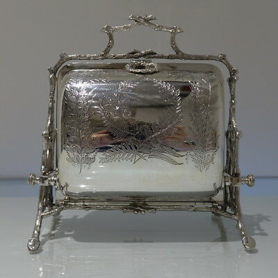19th Century Victorian Silver-Plate Folding Biscuit Box Sheffield Circa 1880